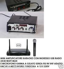 AMPLIFICATORE KARAOKE 2X15W MAX USB AUX RADIO FM 12V 220V E MICROFONO SENZA FILI