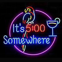 """New It's 5:00 Somewhere Parrot Beer Bar Neon Sign 19""""x15"""""""