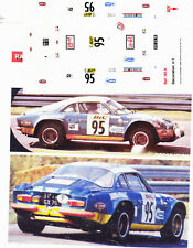 DECALS 1//43 REF 0748 ALPINE RENAULT A110 DARNICHE TOUR DE CORSE 1972 RALLYE