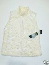 NWT Womens Ralph Lauren Cream Faux Shearling Reversible Vest Jacket Large