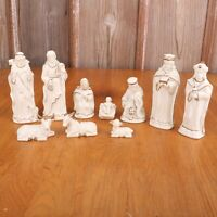 10 Pieces Nativity Christmas Figurines Manger Set Jesus Mary Shepards & More