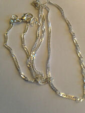 """1mm Silver pltd Twisted Snake Link Chain necklace Sterling pendant 16-24"""" 925 T"""