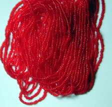 """Poppy Red Vintage 11/0 Transparent Glass Seed Beads Long 20"""" Hank 18bpi(5531802)"""
