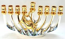 Authentic Temple Menorah HANUKKAH Lamp Gold & Silver Plated Israel