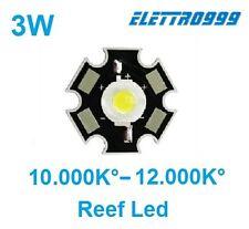 LED 3W 10000K°-12000K° + supporto star per acquario marino reef, 10.000K-12.000K