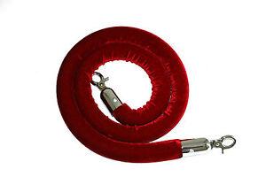 Red Velvet Barrier Ropes with Stainless Steel Hooks