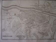 Gravure Carte Plan du Siège de SARAGOSSE Zaragoza
