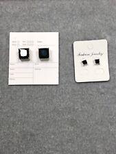 2pcs Magnetic 2 Square CZ Men Unisex Stud Earrings No Piercing