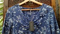 Laura Ashley Blouse Top UK 10 US6 EU 36/38 Blue Floral Soft Comfy Stretch Fabric