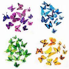 12pcs Papillon 3D Art Design Decal Stickers Muraux Foyer Décorations Chambre#&