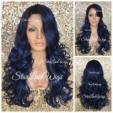 Long Curly Lace Front Wig Human Hair Blend Dark Blue Black Roots Heat Safe Ok