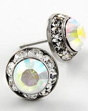 2e SP 11mm Clear AB Swarovski Crystal Elements Post Stud Earrings