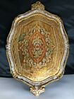 """VINTAGE GOLD FLORENTINE WOOD SERVING TRAY ITALY 20""""x 13"""""""
