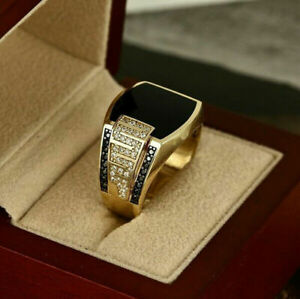 Men's Fashion 18K Gold Filled Black Gemstone Ring Wedding Engagement Jewelry