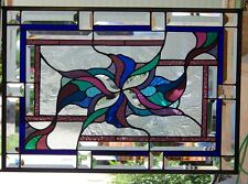 Stained Glass Window Abstract Hanging 17 1/2 X 25 1/8""