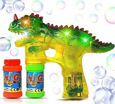 Electric T-Rex Dinosaur Bubble Gun Shooter w/ Music Flash Kids Outdoor Toy Gift