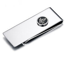 Masonic Money Clip - Stainless Steel with Standard Freemasons Button Symbol