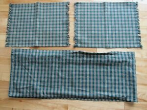 2 LOOMED FOR PARK IMPORTS DESIGNS VALANCES 12X67 & 2 PLACEMATS GREEN & TAN