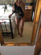 Zara Cotton Body Suit Size Small 8-10 Black Floral One Shoulder