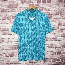 William Murray Men's Short Sleeve Golf Polo Shirt Blue Geo Print Size Small