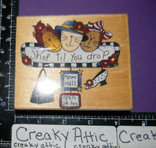 SHOP TILL YOU DROP CATS MALL MEOW RUBBER STAMP INKADINKADO retired 5258