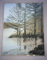 Vintage Original Watercolor Landscape Painting Forest Trees Signed Mia Morgan