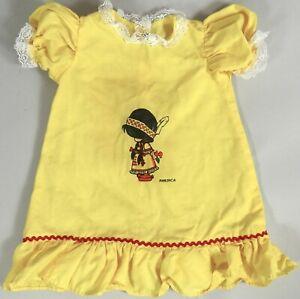 Vtg 1960s Baby Infant Dress Indian Girl America Lemon Yellow Cotton Lace 0 6 Mo