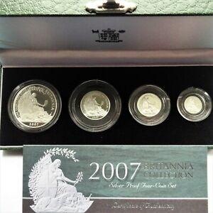 UK Elizabeth II  2007 Silver Proof Britannia 4 Coin Set with COA