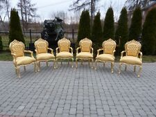 6 FRANCE BAROQUE STYLE ROYAL DINING CHAIRS WITH ARMRESTS - GOLD /GOLD #420GF31