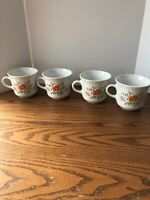 Lot of 4 Corelle by Corning WildFlower Cups Mugs Orange Flower country cottage