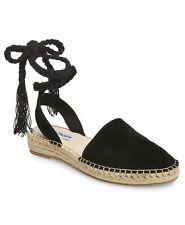 Steve Madden MESA Women's Espadrille Strappy Lace Up Sandals Flats Black