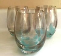 GORGEOUS Stemless Wine Cocktail Glasses Aqua Copper Sparkle Set of 3 MINT COND