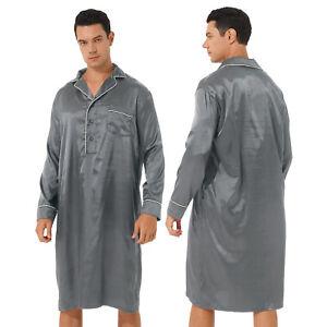 Men's Satin Nightshirt Nightwear Sleep Shirt Button Down Loose Lounge Sleepwear