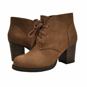 Women's Shoes Soda RIPLEY Block Heel Lace Up Ankle Booties LIGHT BROWN