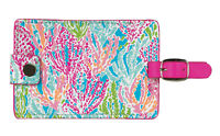 NEW Lilly Pulitzer Luggage Tag LET'S CHA CHA Travel ID  Pink & Green Sea Coral