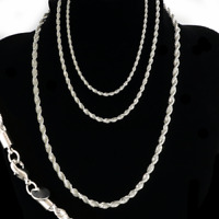 "Sterling Silver plated 3,4,5MM Twisted Rope Chain Necklace 16""-24"" Mens Womens"