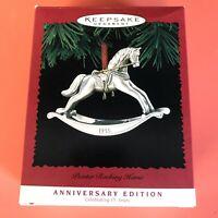 1995 Hallmark - ANNIVERSARY PEWTER ROCKING HORSE ornament