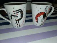 NEW FRAGONARD PERFUME FRANCE PORCELAIN GYMNAST DANCE Coffee TEA Mug CUP set of 2