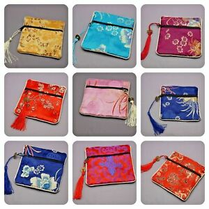Chinese Purse Women's classic jewellery travel Pouch Case square Bag Ladies silk