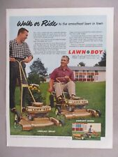 Lawn-Boy Lawnmower PRINT AD - 1958 ~~ Loafer and Deluxe models
