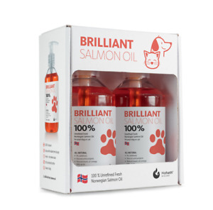 Brilliant 100% Norwegian Salmon Oil For Pets Dogs Cats Food Supplement 2 x 300ml
