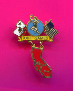 1984 OLYMPIC PIN TORCH RUNNER DANGLER PIN ONE OF THE RAREST OF LA OLYMPICS