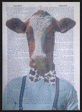 Vache Hipster Impression Vintage Dictionary Imprimé Page Art Mural Image Drôle