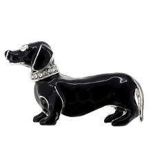 Fantasyard Crystal Black Dachshund Dog Pin Brooch