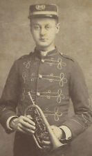 YOUNG MAN IN BAND UNIFORM HOLDING HORN. CABINET CARD, CAMBRIDGE  N.Y.