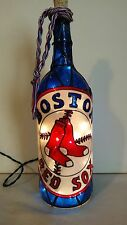 Boston Red Socks Inspired Bottle Lamp Handpainted Lighted Stained Glass Look