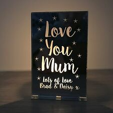 Personalised Christmas Gift Love You Mum Mummy Nanny Tea Light Candle Holder