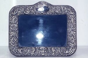 Vintage Sterling Silver Frame Small Size Newport Silver Velvet Back Stand Up  6359