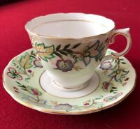 Vintage Colclough Bone China Tea Cup and Saucer Pale Green Floral England