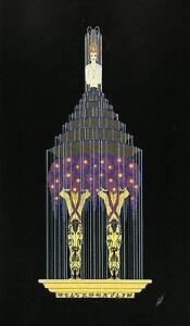 "Original Vintage Erte Art Deco Print ""Perfume"" Fashion Book Plate"